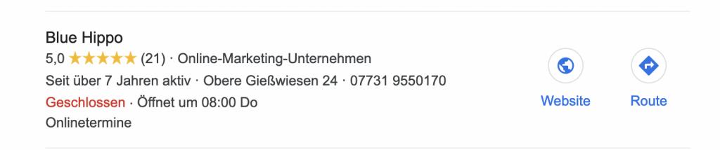 So sieht der Google Maps Eintrag für die Online Agenttur Blue Hippo in Hilzingen/ Singen aus
