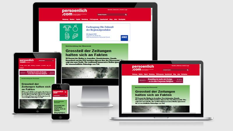 Screenshot der Devices Darstellung des Online Magazins Persoenlich.com
